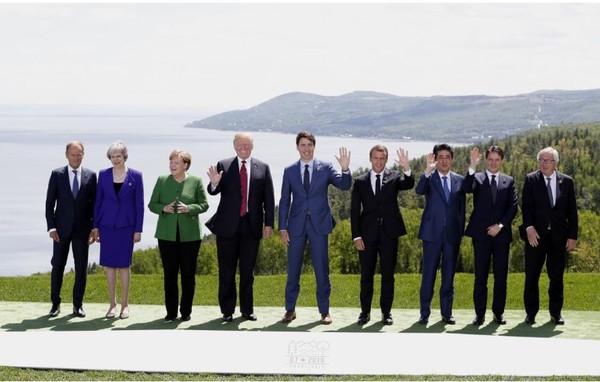 Các lãnh đạo G7 trong đợt hội nghị cuối tuần rồi. Ảnh: REUTERS