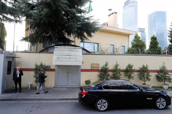 Lãnh sự quán Saudi Arabia ở Istanbul (Thổ Nhĩ Kỳ) ngày 10-10. Ảnh: REUTERS
