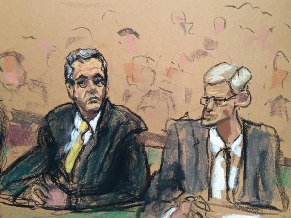 Ảnh phác họa ông Cohen (trái) tại tòa án liên bang ở New York (Mỹ) ngày 21-8. Ảnh: REUTERS