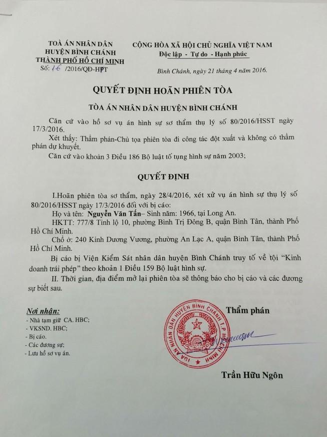 Tòa Bình Chánh hoãn xử vụ Xin Chào vì thẩm phán bận đột xuất