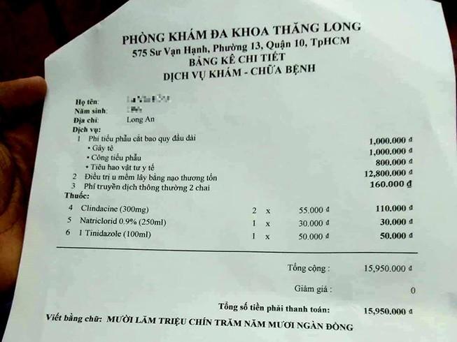 Phòng khám Thăng Long bị tố phẫu thuật giá trên trời