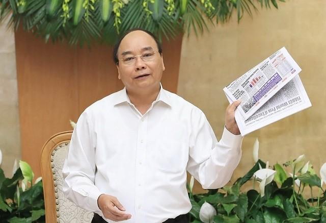 Thủ tướng Nguyễn Xuân Phúc phát biểu tại Phiên họp thường kỳ tháng 4/2018 của Chính phủ. Ảnh: TTXVN