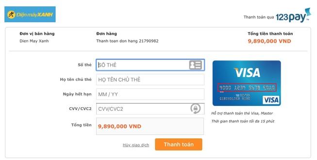 Khi mua sắm trên Thế Giới Di Động, người dùng sẽ được chuyển sang cổng thanh toán trung gian. Ảnh: MINH HOÀNG
