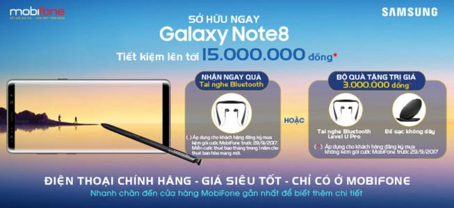 Đặt mua Galaxy Note 8 tại MobiFone nhận quà hấp dẫn