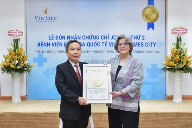 Vinmec Times City nhận chứng chỉ JCI lần thứ 2