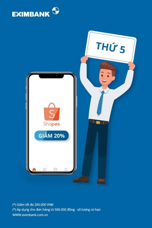 Shopee ưu đãi 20% khi dùng thẻ quốc tế Eximbank