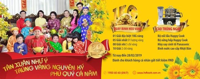 HDBank: Tân xuân như ý - Trúng vàng nguyên ký - Phú quý cả năm