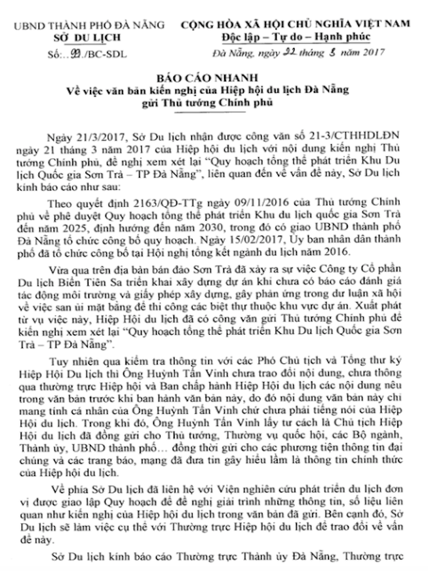 Sở Du lịch Đà Nẵng phản pháo 'tâm thư' cứu Sơn Trà