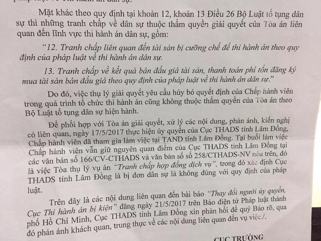 Cục THADS tỉnh Lâm Đồng phủ nhận là bị đơn