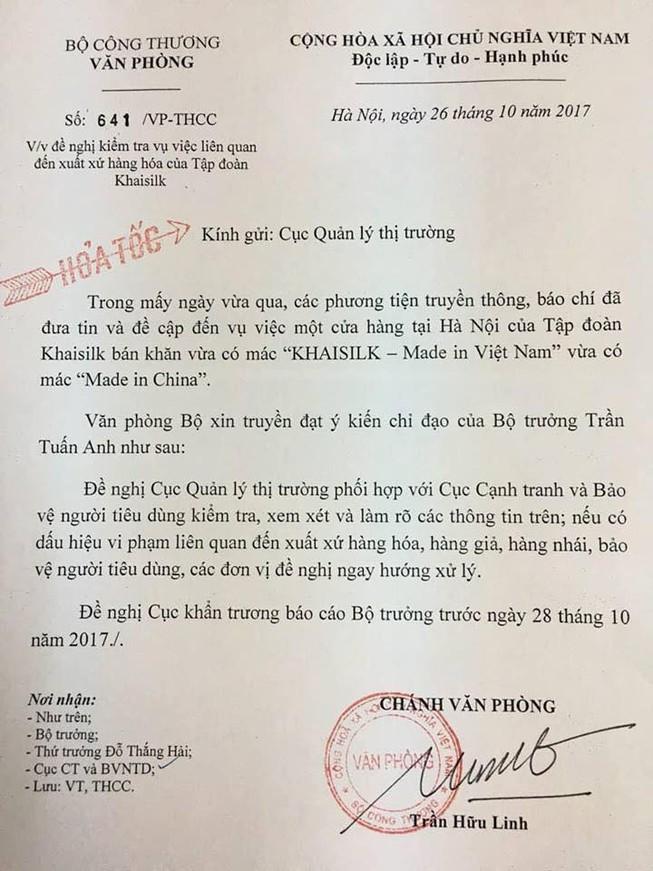 Bộ trưởng Công Thương yêu cầu báo cáo vụ Khaisilk