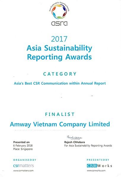 Amway-Top 4 DN phát triển bền vững tốt nhất châu Á 2017