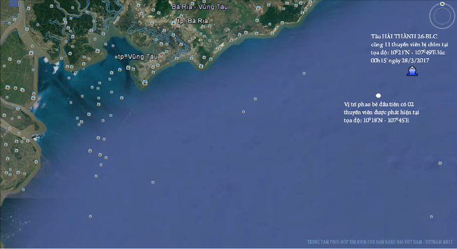 Khẩn trương tìm kiếm 9 thuyền viên tàu Hải Thành 26