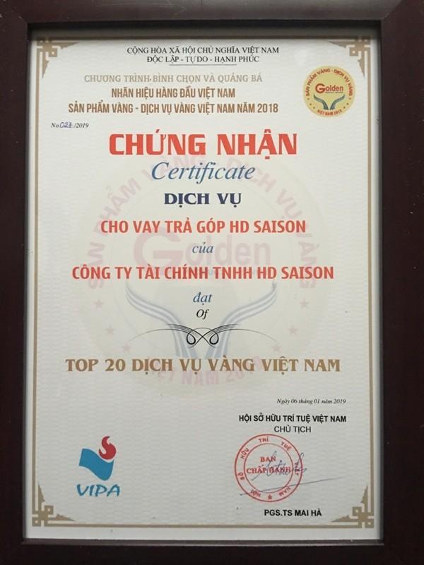 """HD SAISON vào """"Top 20 dịch vụ vàng Việt Nam"""""""