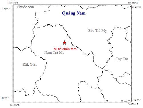 Quảng Nam xảy ra 2 trận động đất liên tiếp