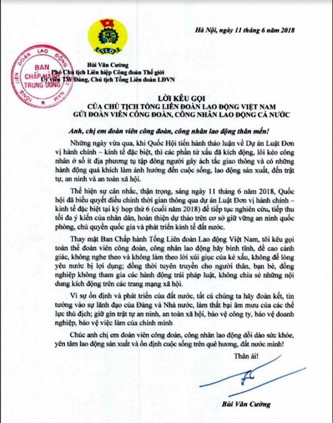 Chủ tịch Tổng LĐLĐ VN kêu gọi người lao động cả nước bình tĩnh