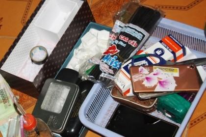 ma túy và tang vật thu giữ