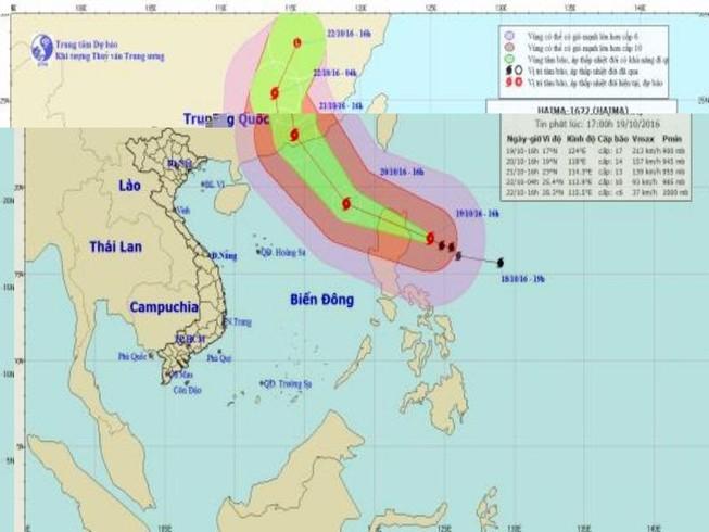 Siêu bão Haima có khả năng đổi hướng