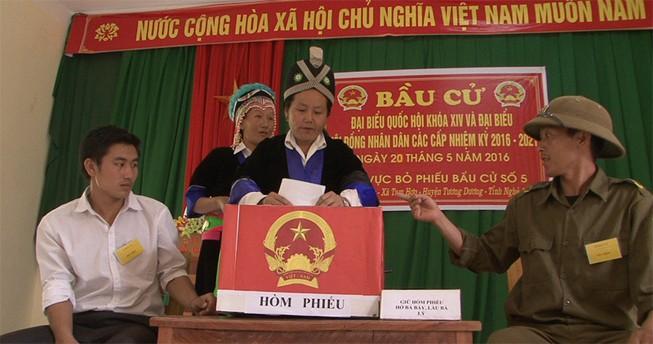 Bà con tộc người Đan Lai, Thái, Mông... đi bầu cử sớm