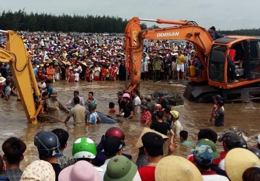 Hàng ngàn người dân hợp sức đưa cá voi về với biển