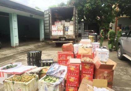 Bắt giữ xe chở 2 tấn hoa quả nhãn mác Trung Quốc lên miền núi bán