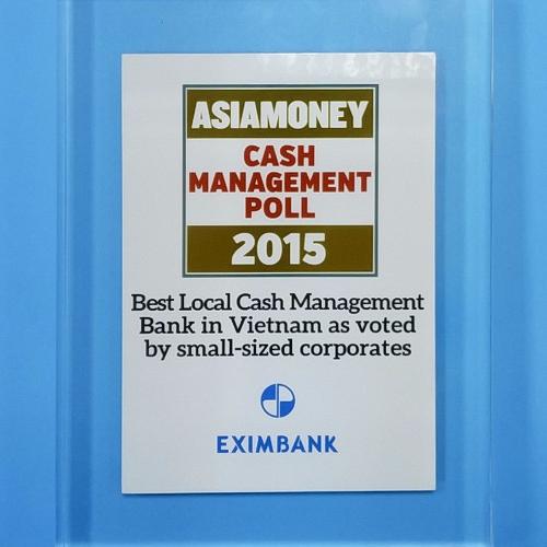 Eximbank: 'Ngân hàng Quản lý tiền mặt nội địa tốt nhất Việt Nam - 2015'