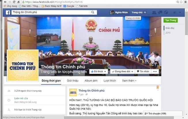 Chính phủ muốn phủ sóng thông tin trên Facebook