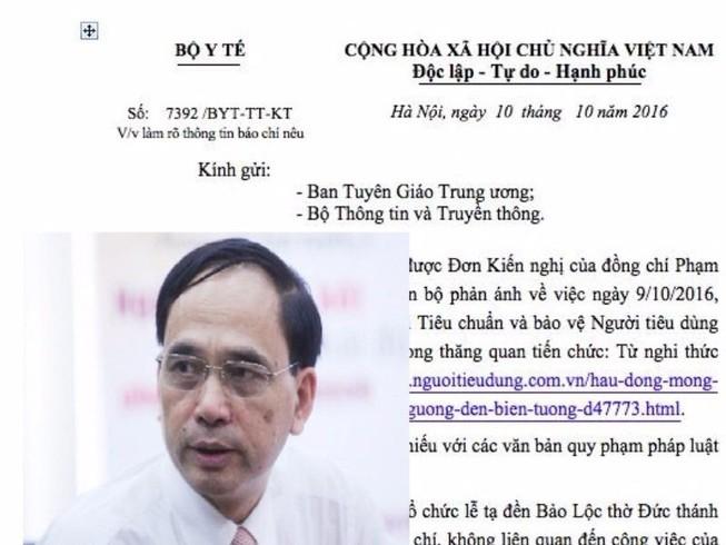 Bộ Y tế gửi công văn về clip Vụ trưởng bị tố hầu đồng