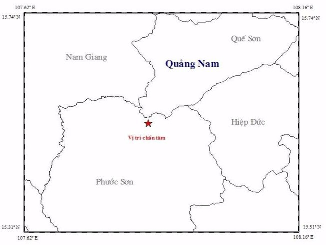 Quảng Nam: Hai trận động đất cách nhau vài phút