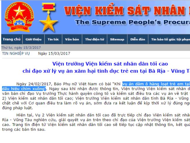 VKSNDTC chỉ đạo làm rõ vụ dâm ô trẻ em ở Vũng Tàu