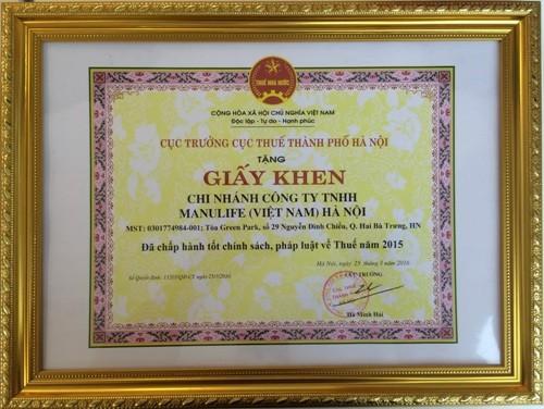 Manulife Việt Nam đóng góp hơn 116 tỷ đồng vào ngân sách