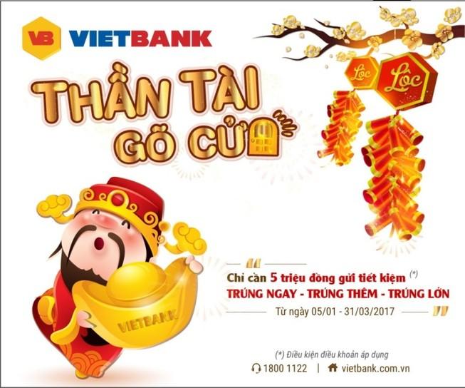 Gửi 5 triệu trúng 10 lượng vàng tại Vietbank