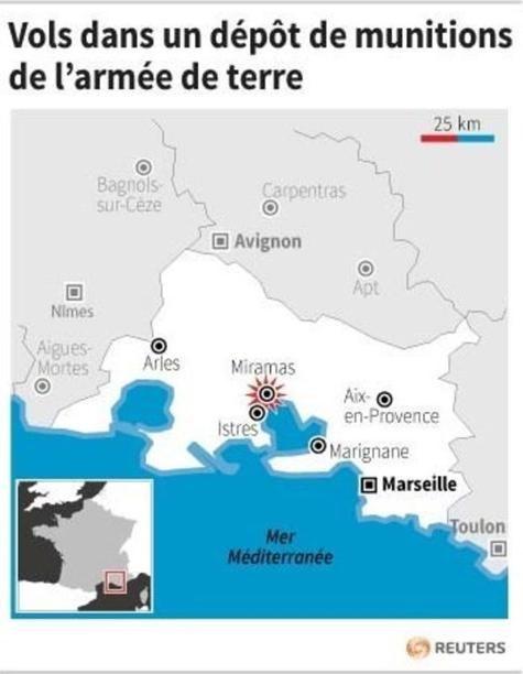 Pháp: Chất nổ, hàng trăm kíp nổ, lựu đạn đột nhiên biến mất