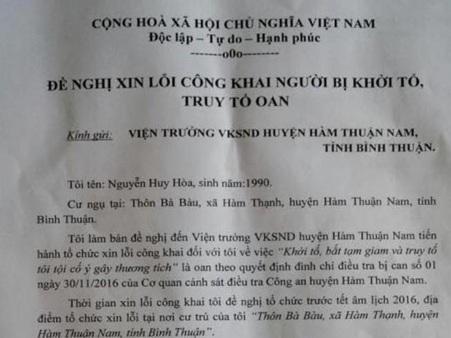 Một nông dân yêu cầu xin lỗi vì bị bắt oan
