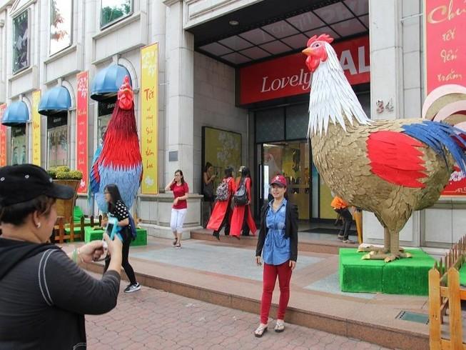 Cặp gà khổng lồ xuống phố chụp ảnh cùng người dân TP