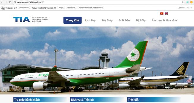 Nghi vấn website sân bay Tân Sơn Nhất lại bị hack?