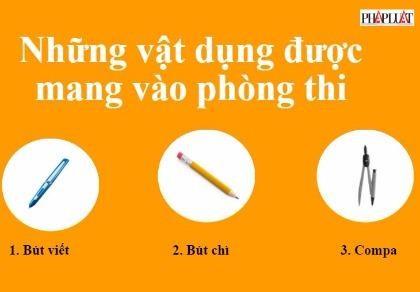 Infographic: Những vật dụng được phép mang vào phòng thi