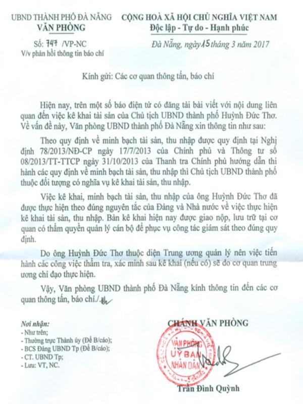 Đà Nẵng phản hồi về bản kê khai tài sản của chủ tịch TP
