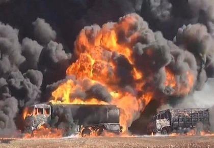 Liên quân Mỹ thiêu rụi 83 xe chở dầu của IS