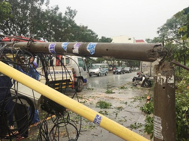 Mưa lớn, cây đè cột điện ở quận 2, giao thông hỗn loạn