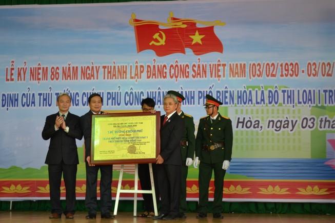 TP. Biên Hòa đón nhận quyết định công nhận đô thị loại I