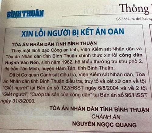 Đăng báo 'xin lỗi' ông Huỳnh Văn Nén