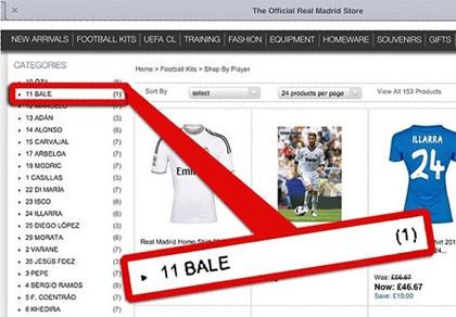 Real Madrid mở bán áo đấu mang tên Bale