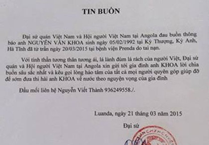 Đưa thi thể lao động 'chui' tử vong ở Angola về quê nhà