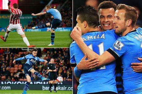 Hủy diệt Stoke City, Tottenham áp sát Leicester City