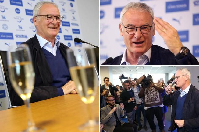 Ranieri uống champagne mừng champion