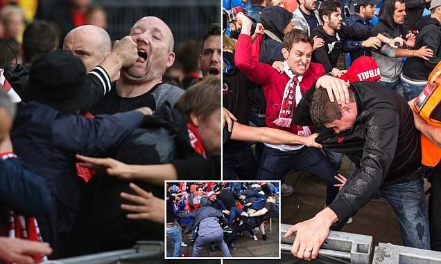 CĐV 'choảng' nhau tưng bừng trước trận chung kết Europa League