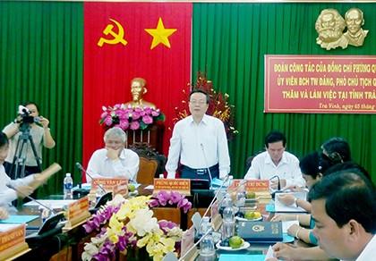 Phó Chủ tịch Quốc hội Phùng Quốc Hiển làm việc với tỉnh Trà Vinh