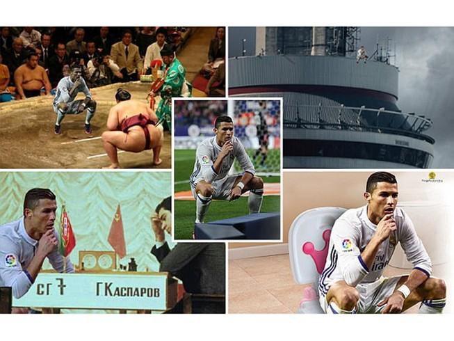 Ảnh chế Ronaldo mừng bàn thắng theo trào lưu đứng hình