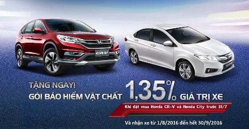 Mua Honda CR-V và City, nhận gói bảo hiểm vật chất
