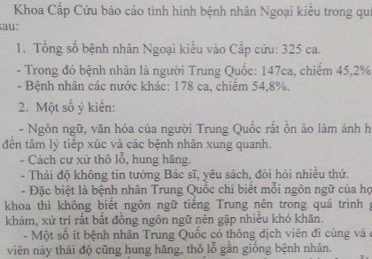 Bệnh nhân người Trung Quốc làm khó bệnh viện